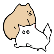 A little fat dog & the whim cat