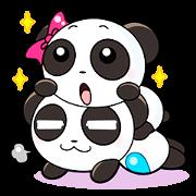 可愛的情人節熊貓情侶
