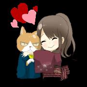 Cat and kimono daughter and Yamanaka