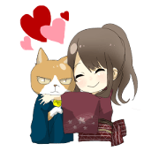 Cat and kimono daughter and Yamanaka