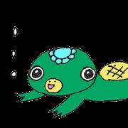 A sticker of a cute kappa