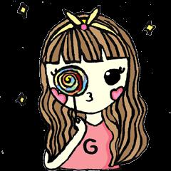 สติ๊กเกอร์ไลน์ ผู้หญิงกับสีชมพู