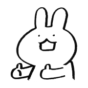 A white and fairly simple rabbit