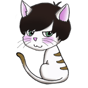 Cat with mush-hair wig