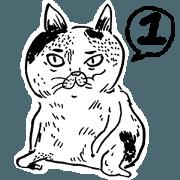 蛋頭的貓插畫線條版1