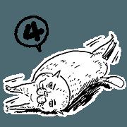 蛋頭的貓插畫線條版4