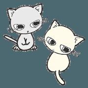 Shiroinyan and Graynyan Greeting sticker
