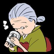 昔ながらの日本のおばあちゃんスタンプ